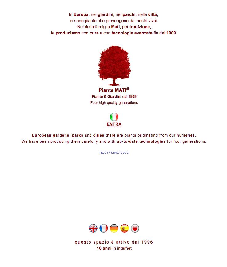 Piantemati website 2006 screenshot