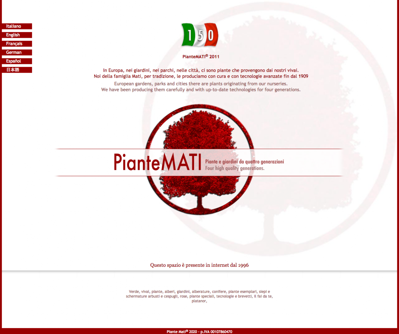 Piantemati website 2011 screenshot